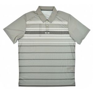 Mens Stripe Short Sleeve Polo Shirt Top Grey White
